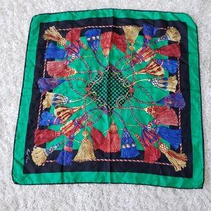 Mark Cross jewel toned tassel print silk scarf
